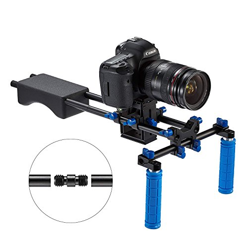 FOTOWELT Universal Camera Video Rig Dual Grip Portable Filmmaker System With Soft Rubber Shoulder Mount Video Chest Stabilizer Support System for Canon Nikon Sony DSLR Camera by FOTOWELT