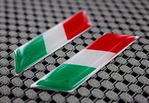 Italia Italy Flag Ducati Aprilia Decal Sticker Pair L + R Chrome Outline