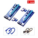 Yuan Yingze 2 Pack 4pin 1x to 16x PCIe Riser GPU Riser Adapter 60cm USB 3.0 Riser Flexible Extension Cable & MOLEX to SATA Power Cable,Powered Riser Adapter Card w/LED Indicator