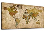 Vintage World Map Canvas Wall Art Picture Antiqued Map of The World Canvas Painting Artwork Prints for Office Wall Decor Home Living Room Decorations Framed Ready to Hang 20' x 40'