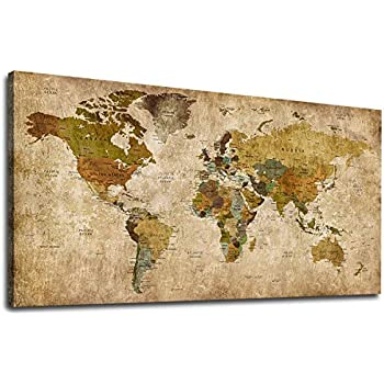 Canvas Wall Art Vintage World Map Painting Picture Antique Map of The World Canvas Artwork Prints for Office Wall Decor Home Living Room Decorations Framed Ready to Hang 24