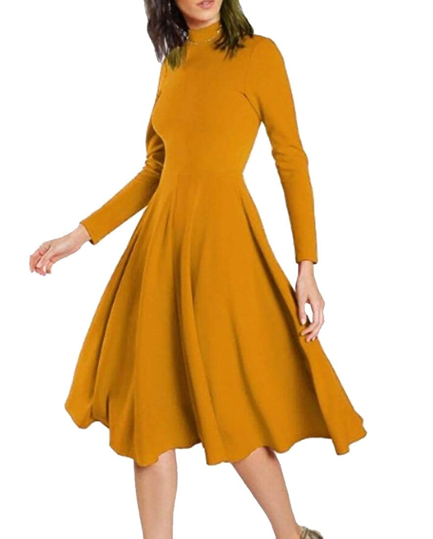 M/&S/&W Women Loose Party Dress Long Sleeve Turtleneck Swing Dress