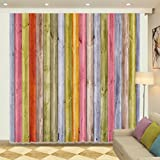 Colorful Rustic Vertical Wood Plank Decor Art Window Curtain by LB, Country Themed House Decor for Kids, Room Darkening Curtain Drapes, 80x84 Inches (2 Panels Size)