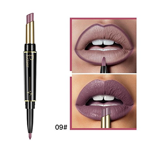 Chiak Natural Double Ended Rotate Lasting Matte Waterproof Lip Liner Lipstick Pencil Lip Liners