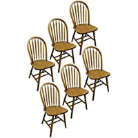 6 Dark Oak Stain Kitchen Dining Arrow Back Chairs Set