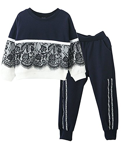 M RACLE Cute Little Girls' 2 Pieces Long Sleeve Top Pants Leggings Clothes Set Outfit (10-11 Years(160), Navy White)]()