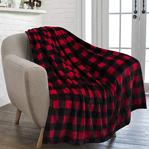 PAVILIA Flannel Fleece Throw Blanket for Sofa Couch | Super Soft Velvet Plaid Pattern Checkered Decorative Throw | Warm Cozy Lightweight Microfiber | 50 x 60 Inches Plaid Red/Black