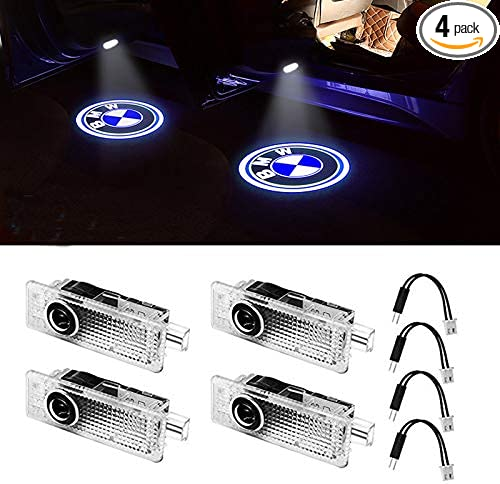 4-pack KRADA Car Door Light LED Logo Projector Ghost Shadow Welcome Light Emblem Accessories Courtesy Step Lights for BMW 3 5 6 7 Z GT Mini Series Symbol Light Kit Replacement
