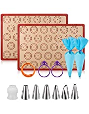 """Silicone Baking Mat Macaron Mat Kit(14pcs Set) Macaroon Baking Mat Set of 2 Half Sheet Macaron Silicone Mat Nonstick Macaron Mat Sheet,6 Piping Tip,2 Piping Bag with 2 Bag Tie,1 Coupler (11.6""""x16.5"""")"""