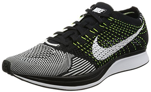 nike flyknit racer unisex running trainers 526628 sneakers shoes (10 D(M) US, Black/White-Volt)
