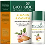 Biotique Bio Almond and Cashew Fresh Replenishing Serum 35ml ( 1.18 Oz.) For Color Treated & Permed Hair I Replenish and repa