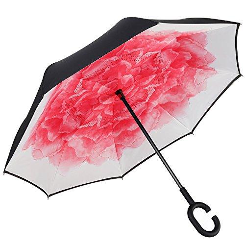 Amagoing Car Inverted Umbrella Double Layer Windproof Reverse Umbrella for Rain Sun (Red Lotus)