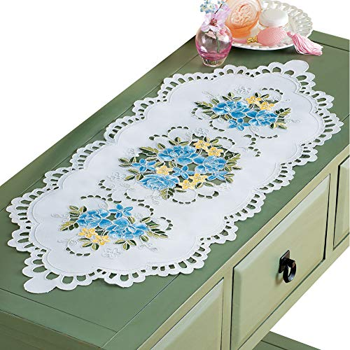 - Collections Etc Elegant Embroidered Rose Floral Cutout Dresser Scarf - Spring Dining Room Decorative Accent