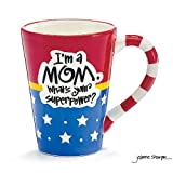 Burton and Burton I'm A Mom, What's Your Superpower Coffee Mug, 12oz, Red White Blue Stars