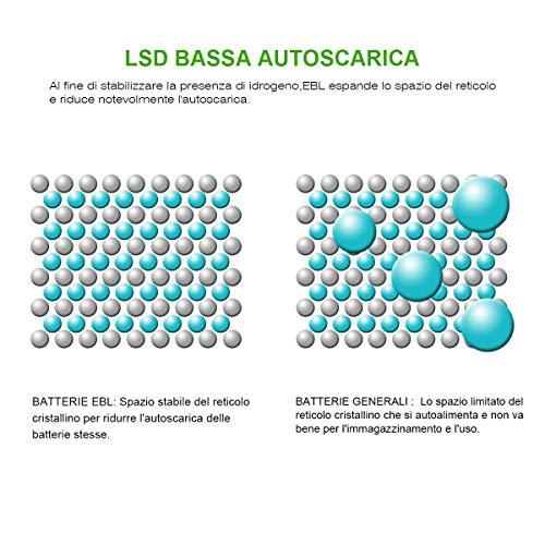EBL AA Batterie Ricaricabili Ad Alta Capacità,Pile Ricaricabili da 2300mAh Ni-MH con Astuccio Ricarica da 1200 volte,Confezione da 12 pezzi