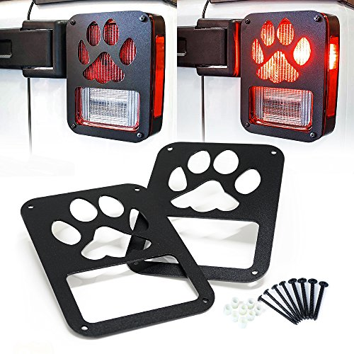 Xprite Tail Light Cover Guard Dog Paw for 2007-2018 Jeep Wrangler JK Unlimited Taillights- Pair
