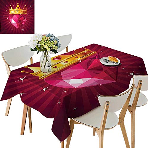 UHOO2018 100% Polyester Tablecloth Crystal Love Heart Diamond Wearing A Crown Princess Queen Gem Theme On Radial Square/Rectangle Multicolor,52x 52 inch ()