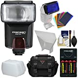 Precision Design DSLR350 High Power Auto Flash with Batteries & Charger + Bounce Diffuser + Reflector + Color Gel Filters + Case + Kit