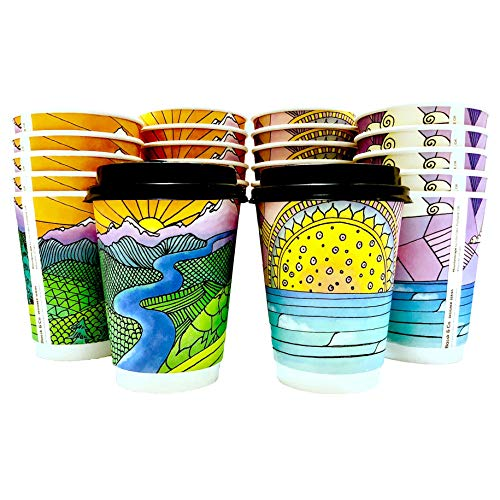 Price comparison product image Premium Disposable Coffee Cups with Lids,  12 oz - To Go Paper Cup (60 Pack),  Double Wall Insulated,  for Hot or Cold Drinks - Leak Resistant,  No Sleeve Needed - For Outdoor Party,  BBQ,  Picnic,  Office