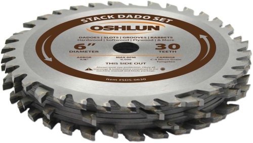 (Oshlun SDS-0630 6-Inch 30 Tooth Stack Dado Set with 5/8-Inch Arbor)