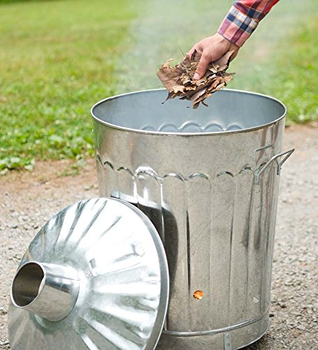 Galvanized Metal Garden Incinerator Can