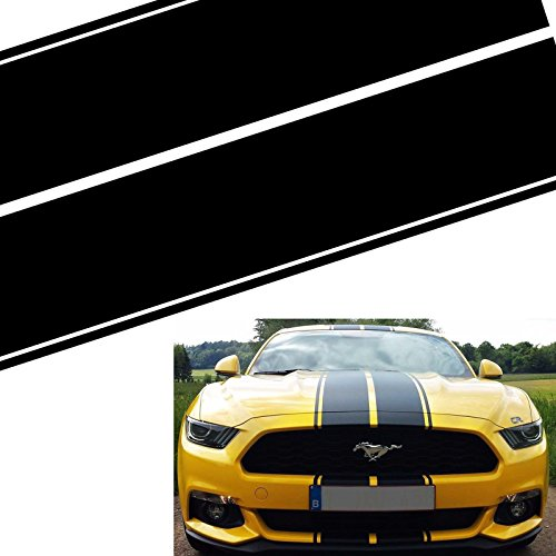 (Xotic Tech Double-sided Vinyl Stripe Decal Racing Rally Sticker for Ford Mustang Hood Roof Rear Trunk Black)