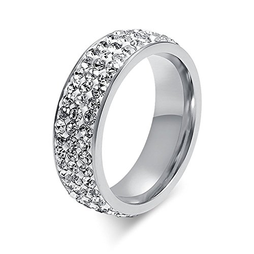 7mm Women Stainless Steel Eternity Ring for Wedding Band Engagement Promise CZ Cubic Zirconia Crystal Circle Round Size 7 to12(SZZ-022) (Size 9, Silver)