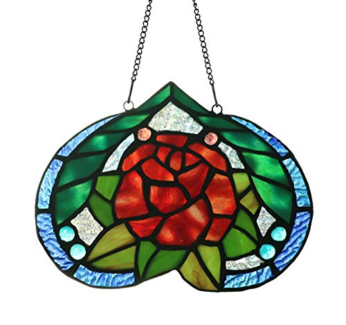 Alivagar Red Rose Ornament Tiffany Flower Stained Glass Sun Catcher, 7