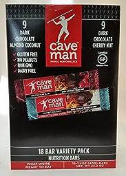 Cave Man 18 Bar Variety Pack Nutrition Bars(9 Dark Chocolate Almond Coconut & 9 Dark Chocolate Cherry Nut)