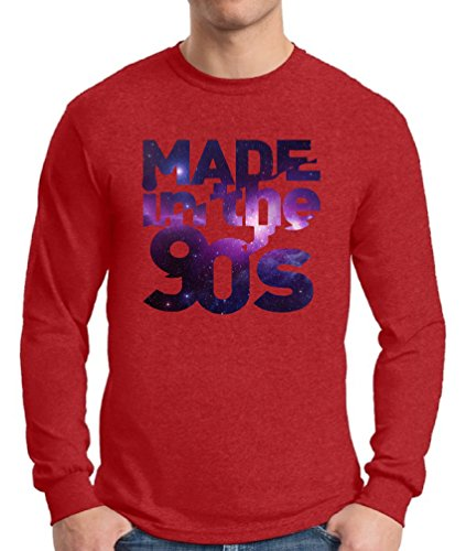 Awkward Styles Men's Made In The 90's Long Sleeve T shirt Tops Galaxy Gift for Birthday Funny Saying Red (90s Themed Clothes)