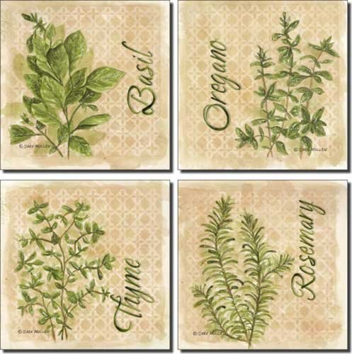 Herbs by Sara Mullen - Ceramic Accent Tile Set 4.25