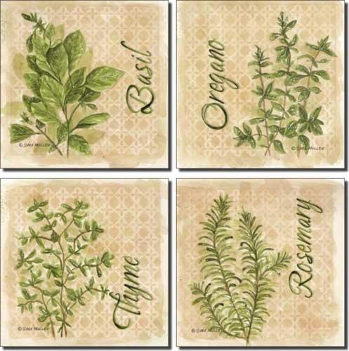 herbs by sara mullen   ceramic accent tile set 4 25   x 4 25   kitchen backsplash     amazon com herbs by sara mullen   ceramic accent tile set 4 25   x 4 25      rh   amazon com
