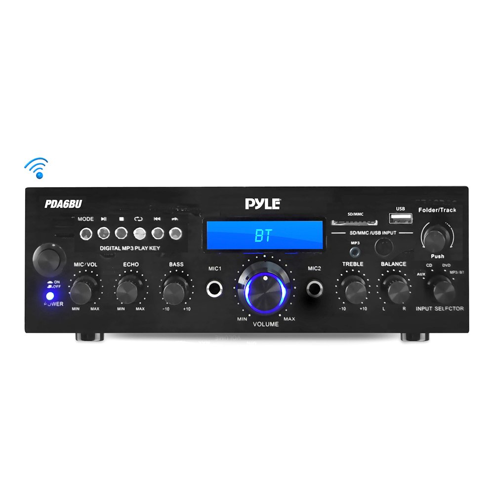 Pyle Bluetooth Stereo Amplifier Receiver [Compact Home Theater Digital Audio System] with Wireless Streaming | FM Radio | MP3/USB/SD Readers | Remote Control | 200 Watt (PDA6BU) by Pyle