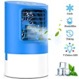 KUUOTE Portable Air Conditioner Fan, Personal Space Air Cooler Quiet Desk Fan Mini Evaporative Cooler with 7 Colors Night Light, Air Circulator Humidifier Misting Fan for Home Office Bedroom, Black