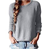 Franterd Women Fall Winter Sweater Long Sleeve Knitted Loose Pullovers