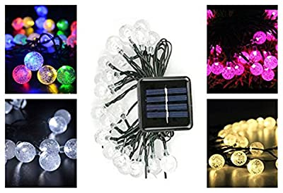 Bright 21-Foot Solar Energy Crystal Ball Bubble Light, 30LED Crystal Ball, Christmas Lights, Family Garden Lawn Party, Holiday Outdoor Decoration
