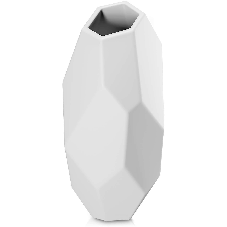 Jarrón geométrico blanco para flores