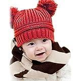 vestitiy Clearance! Cute Infant Baby Girl Boy Dual Balls Warm Crochet Beanie Winter Knitted Cap Wool Hat