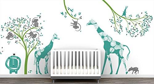 Baby Jungle Extra Large Mural Wall Decal Big Giraffes Fun Monkeys Tree Adorable Lion Little Birds Cute Bunny Curious (Giraffe Lion Bird)