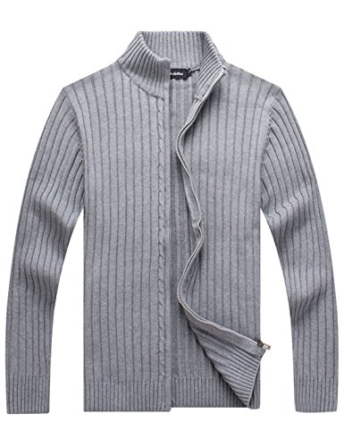 Yeokou Men's Casual Autumn Stand Collar Full Zip Up Knitted Cardigan Sweater Light -