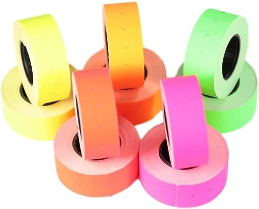 6 rollos blanco 21 x 12 mm Pegatina de papel de colores Precio Pistola Precio Precio Etiquetas MX-5500