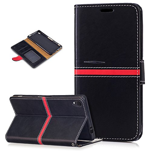 Sony Xperia XA Ultra Case,Sony Xperia XA Ultra Cover,ikasus PU Leather Fold Wallet Pouch Case Wallet Flip Cover Bookstyle Card Slots & Stand Protective Case Cover for Sony Xperia XA Ultra,Black ()