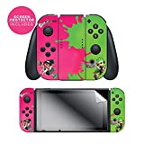"Cheap Nintendo Switch Skin & Screen Protector Set, Officially Licensed By Nintendo – Splatoon 2 ""Pink Vs Green"" Joy-Con Only – Nintendo Switch"