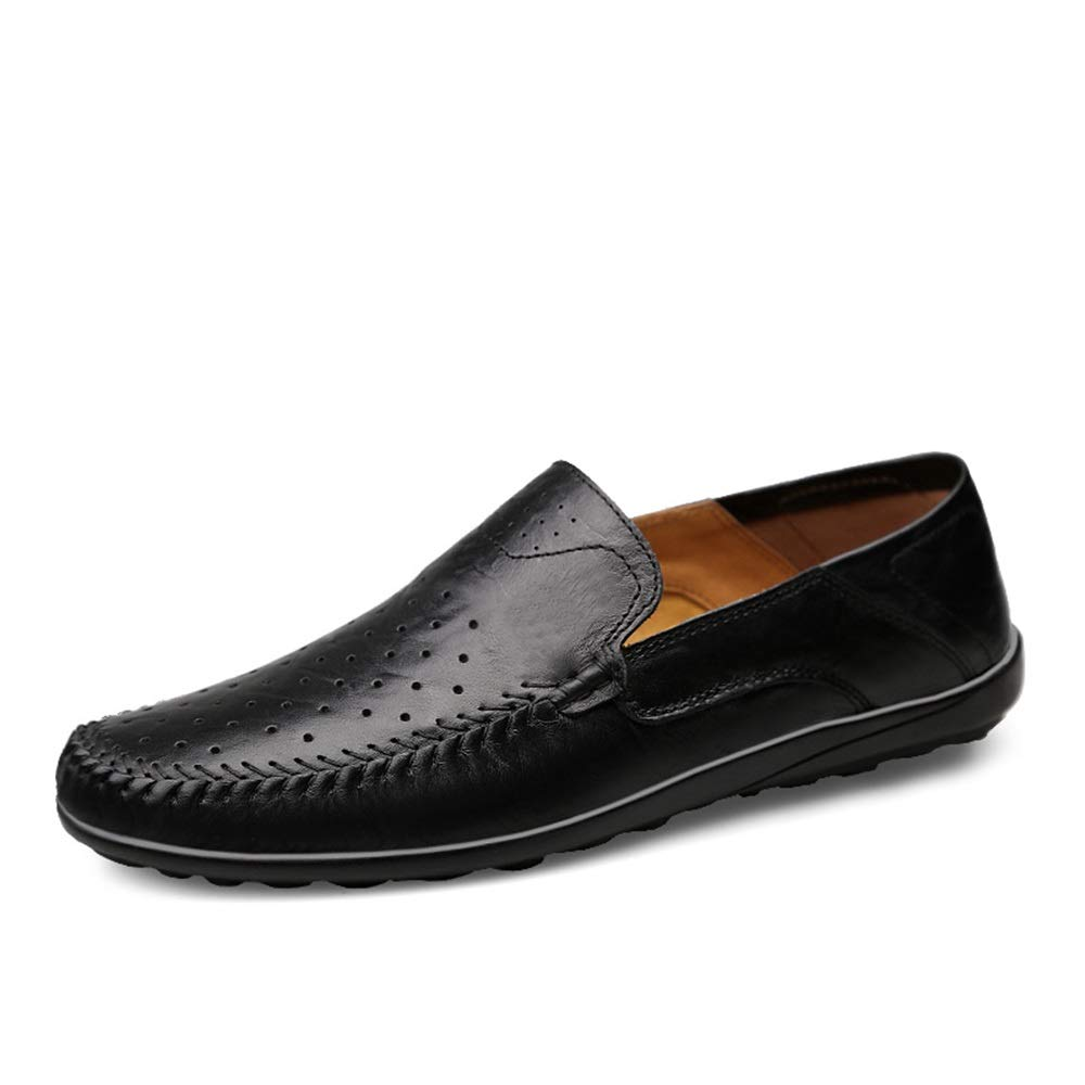Men Casual Driving Loafer Lightweight Slip-on Genuine Leather Penny Shoes Stitching Elastic Boat Shoes
