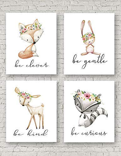 Pink Woodland Deer Fox Bunny Rabbit Raccoon Wall Art Print Be Clever Fox Be Gentle Be Kind Be Curious Nursery Baby Girl Room Set Boho Fox Woodland Bunny Deer Nursery Wall Art Print Baby Girl Room