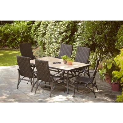Hampton Bay Pembrey 7-Piece Decorative Outdoor Patio Dining Set, Seats 6