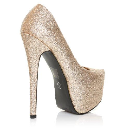 Donna - Pumps High Heels Stöckelschuhe Champagner Glitter Glitzer Stiletto Plateau Champagner Glitzer