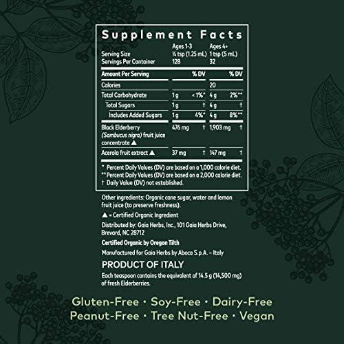 Gaia Herbs Black Elderberry Syrup - Daily Immune Support with Antioxidants, Organic Sambucus Elderberry Supplement, 5.4 Fl Oz (Pack of 1) 7