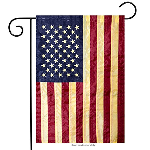 "Briarwood Lane American Flag Tea Stained Applique Garden Flag 12.5"" x 18"""