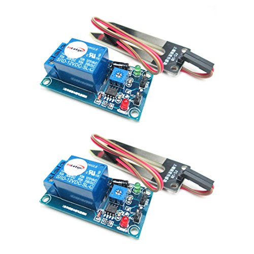 HiLetgo 2pcs LM393 12V Soil Moisture Relay Module Soil Moisture Sensor with Soil Moisture Probe Dupont Wires for Smart Car Arduino
